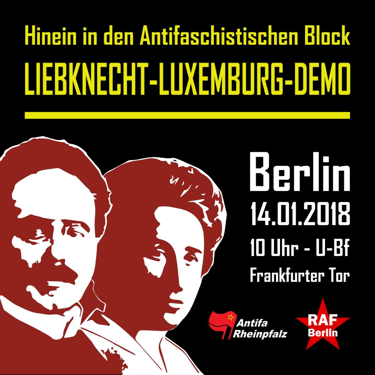 Hinein in den antifaschistischen Block auf der Liebknecht-Luxemburg-Demo 2018