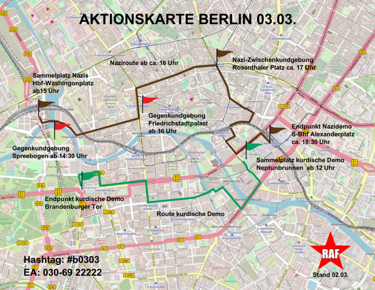 Aktualisierte Aktionskarte zum Naziaufmarsch am 3. März