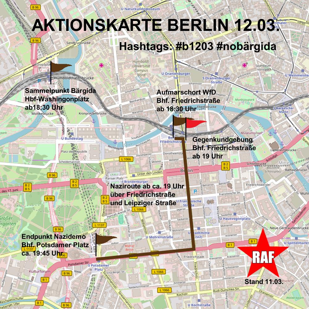 Aktionskarte zum zweiten Montagsmarsch von Bärgida und WfD am 12. März