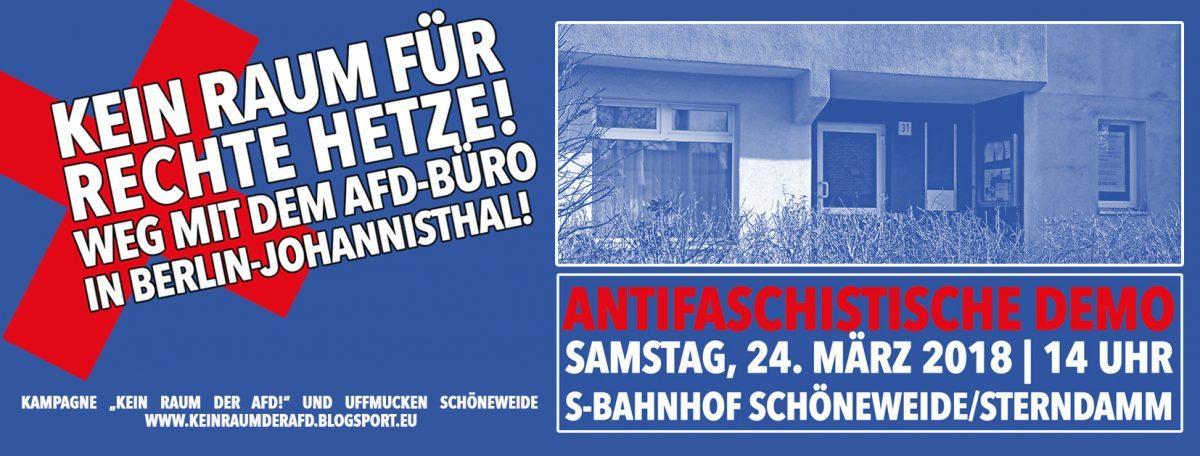 Antifaschistische Demo am 24.03. gegen AfD-Büro Johannisthal