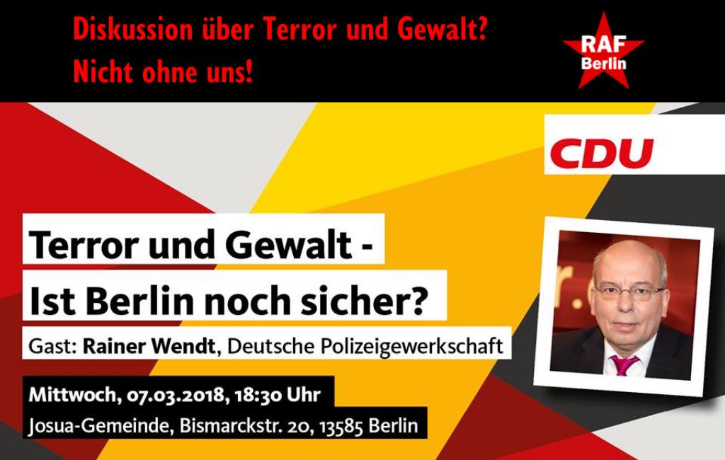 Rechtspopulist und Bullenfunktionär Rainer Wendt am 7. März Gast der CDU Spandau