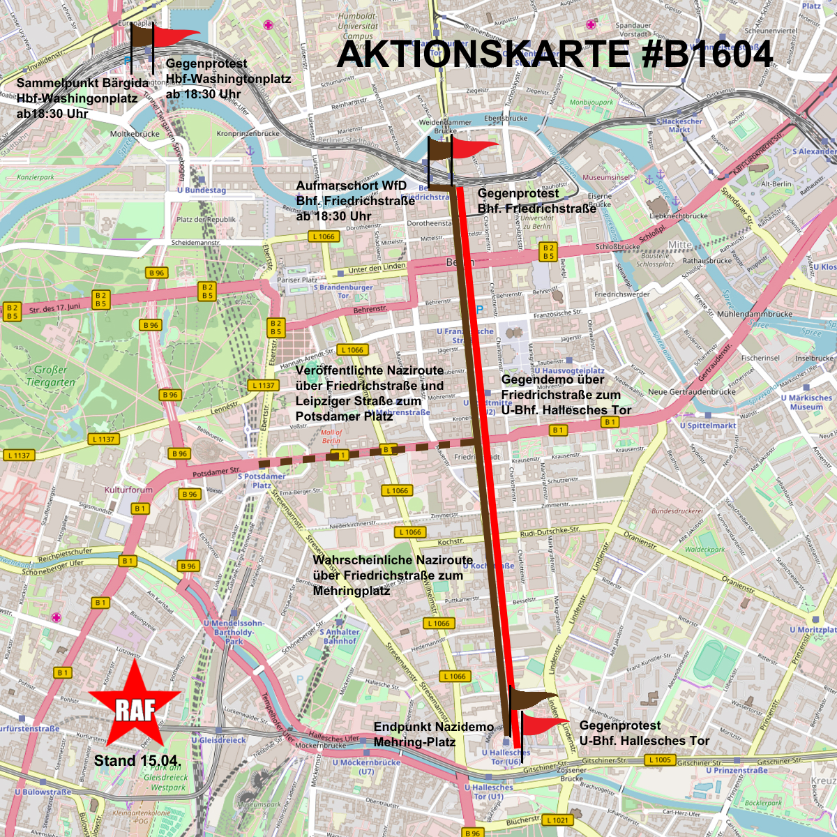 Aktionskarte zum Nauziaufmarsch von WfD am 16. April