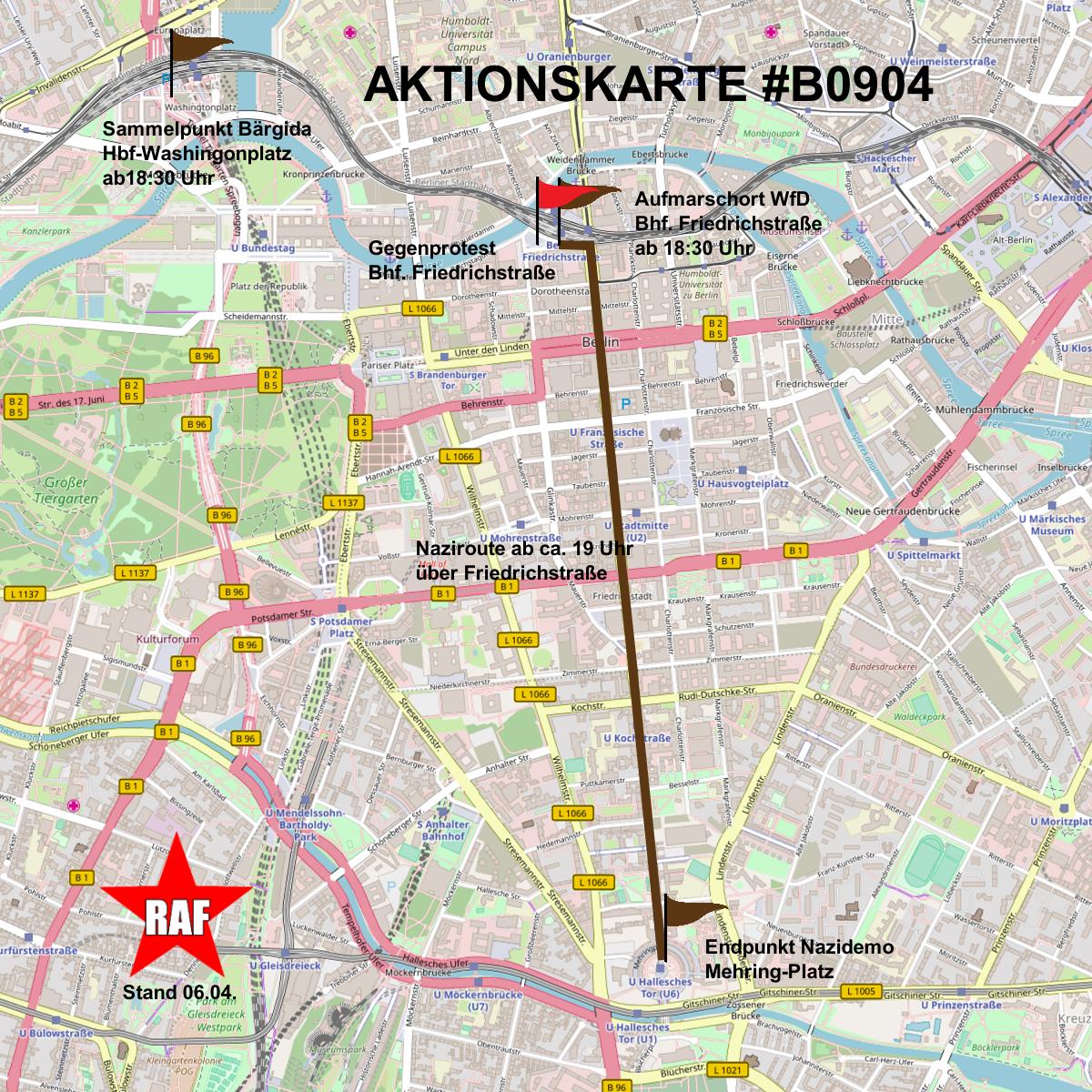 Antifaschistische Aktionen gegen den Aufmarsch von Bärgida und WfD am 9. April