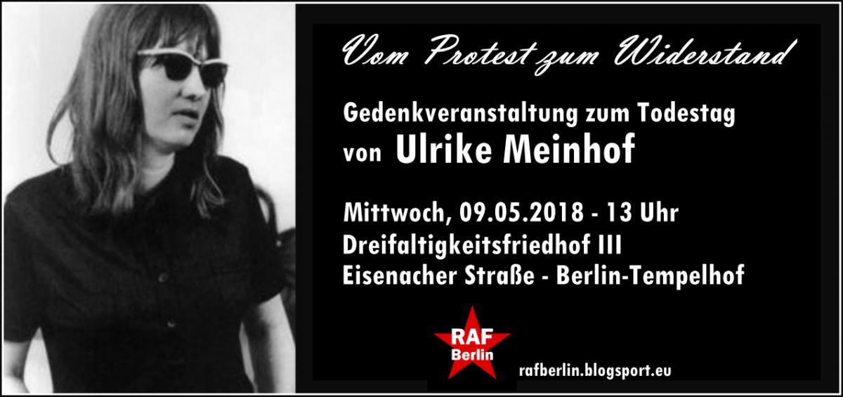 Vom Protest zum Widerstand – Gedenkveranstaltung zum Todestag von Ulrike Meinhof am 9. Mai
