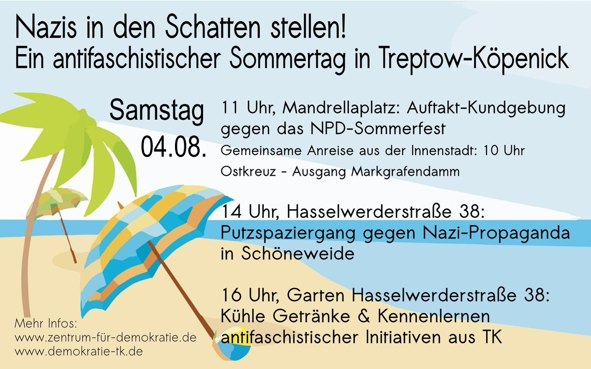 Konspiratives Sommerfest der Berliner NPD am 4. August in Köpenick