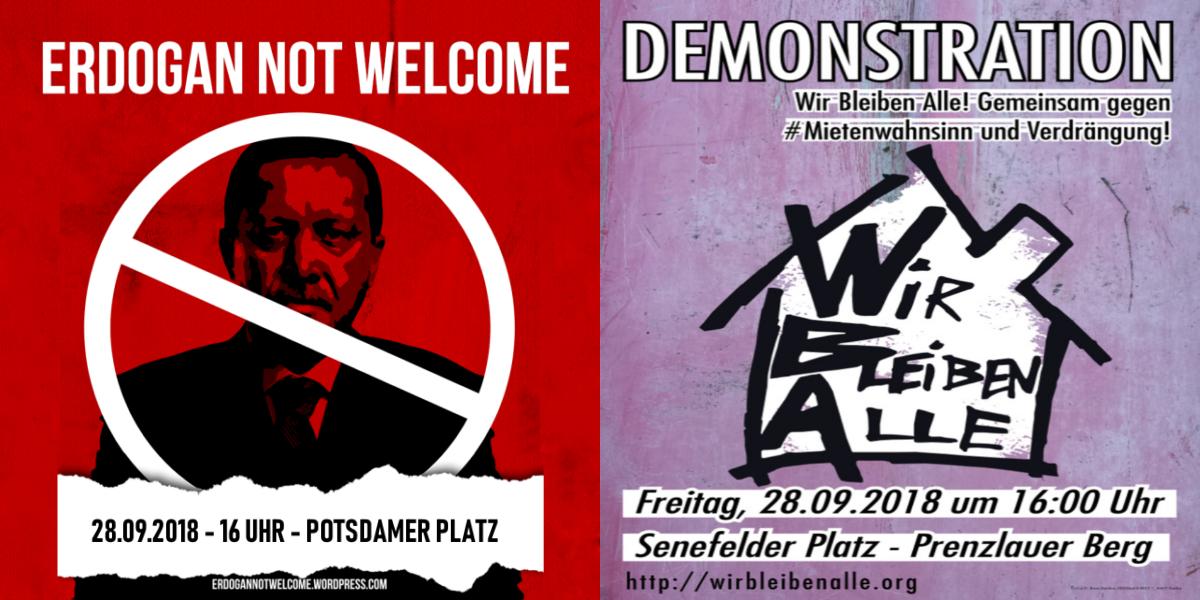Demos gegen den türkischen Despoten Erdogan und gegen den Mietenwahnsinn zeitgleich in Berlin
