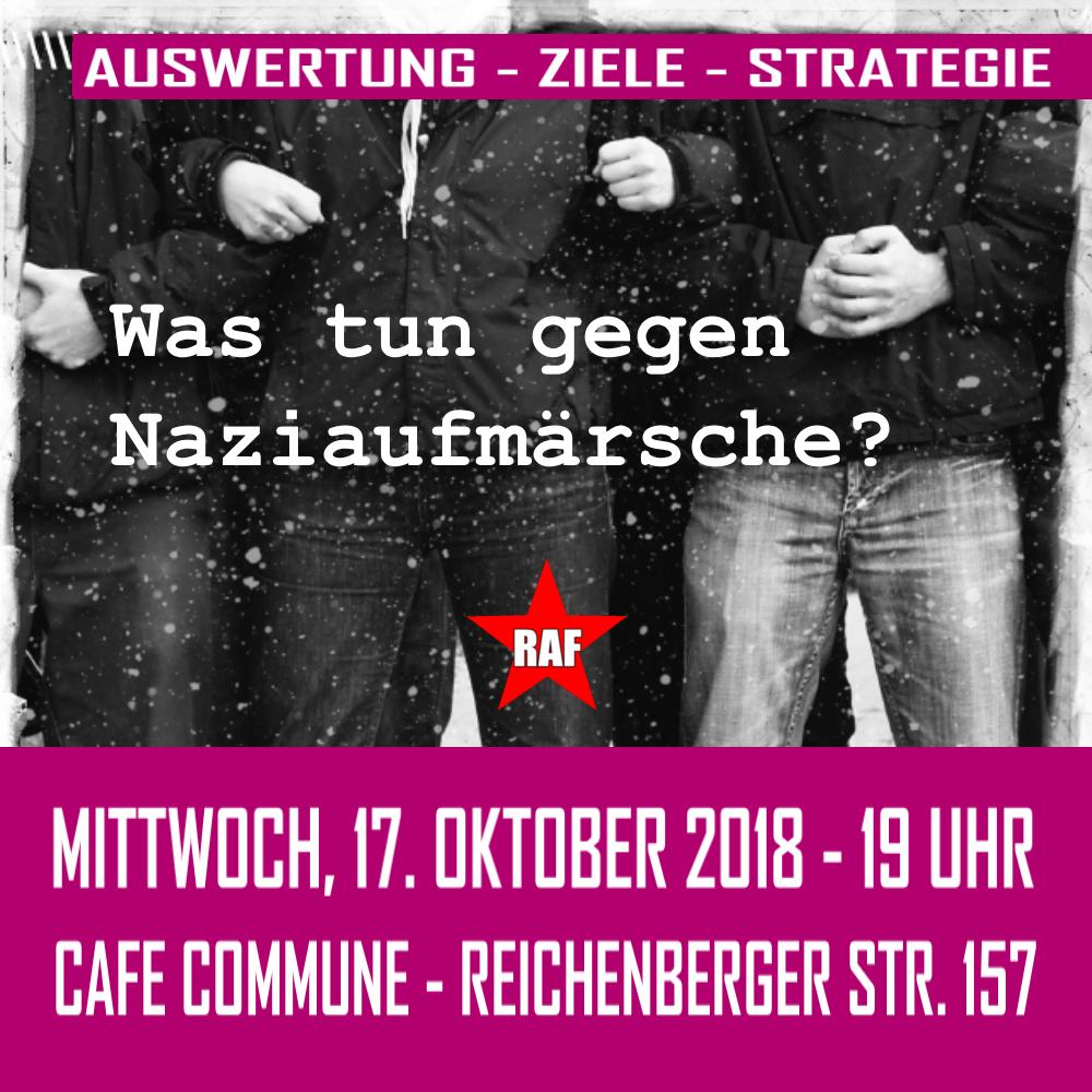 """""""Was tun gegen Naziaufmärsche?""""  Offene Diskussionsveranstaltung am 17. Oktober im Cafe Commune"""