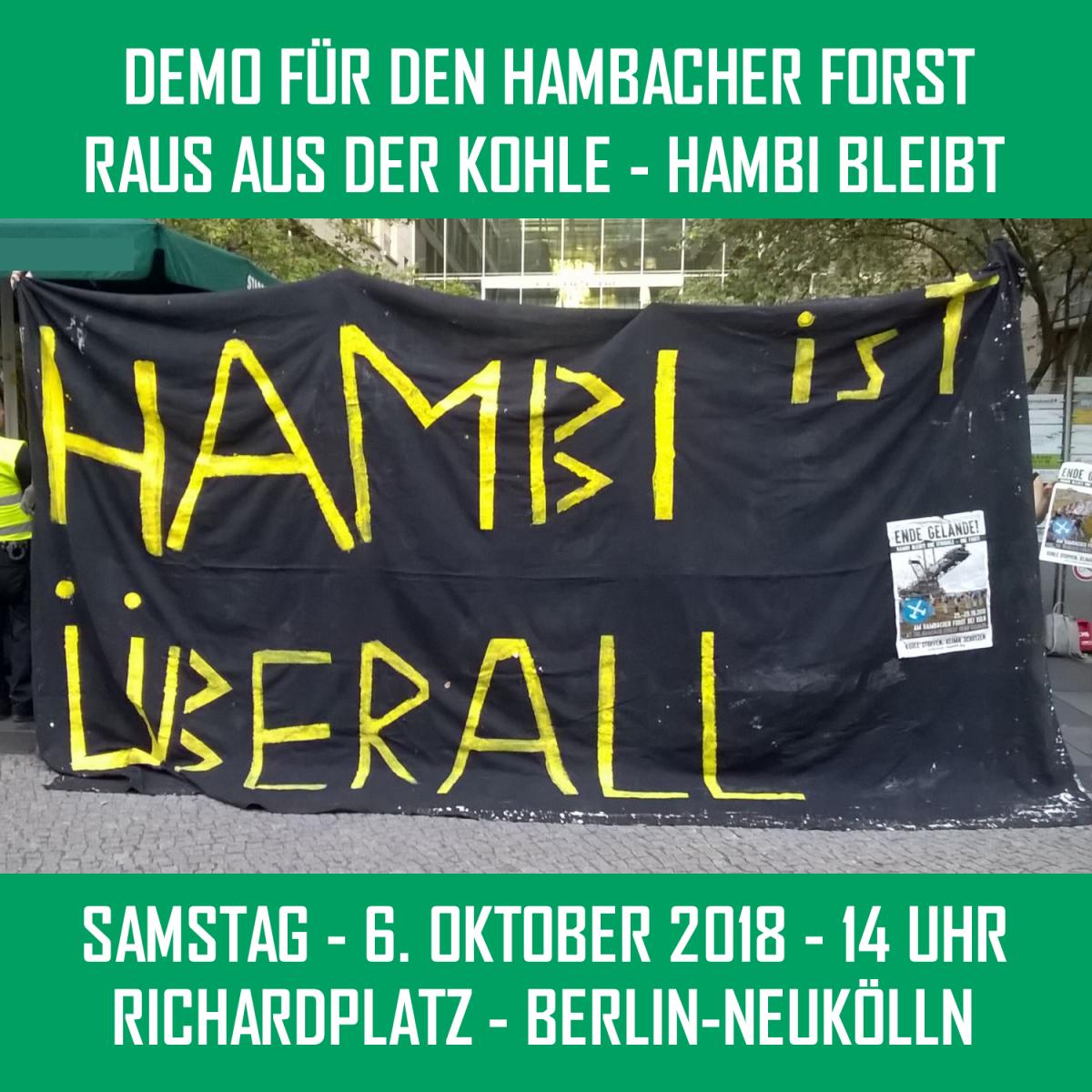 Demo für die Rettung des Hambacher Walds am 6. Oktober in Berlin