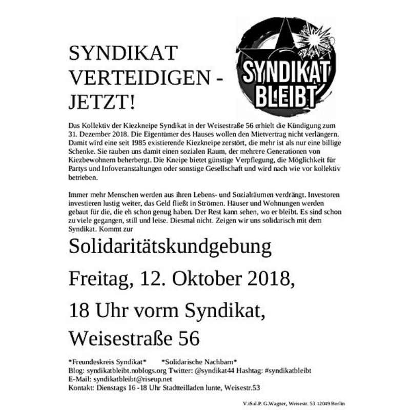 Das Syndikat verteidigen – Soli-Kundgebung am 12 Oktober