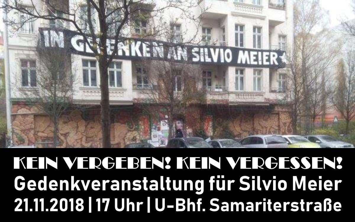 Gedenkveranstaltung für Silvio Meier am 21. November im U-Bhf. Samariterstraße