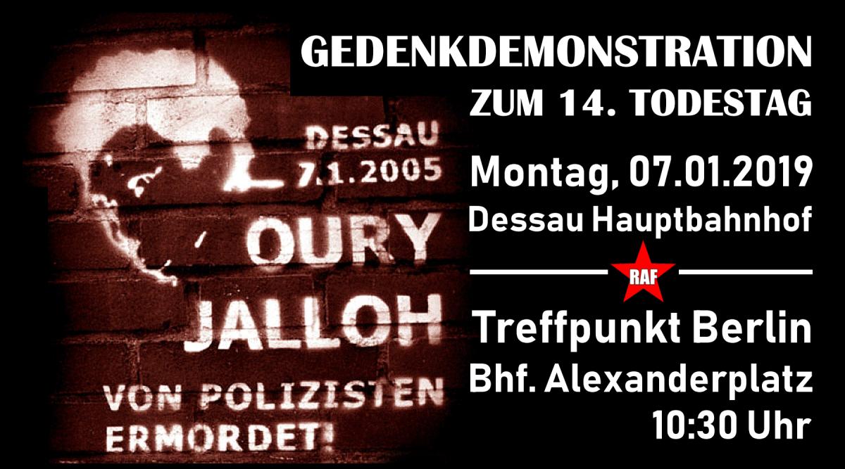 14 Jahre Vertuschung sind genug! Gedenkdemonstration für Oury Jalloh am 07.01.2019