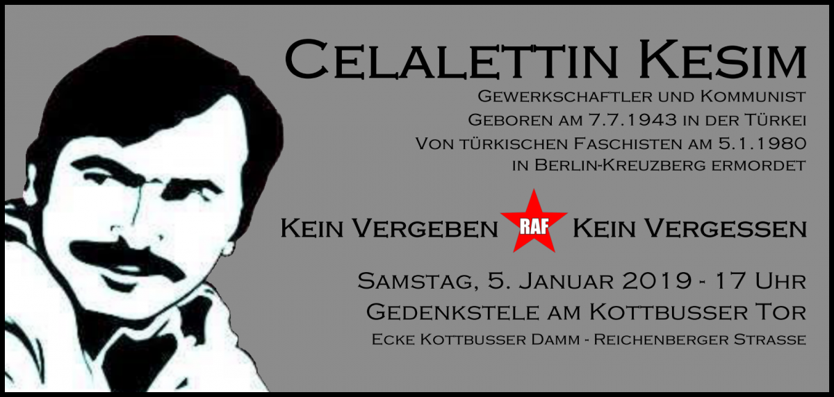 Gedenkveranstaltung für Celalettin Kesim am 5. Januar am Kottbusser Tor